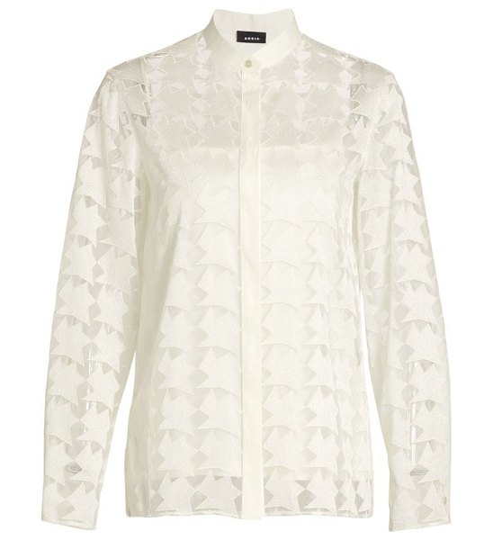 Akris embroidered tulle blouse in ecru