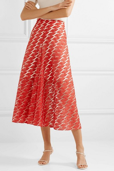 Akris embroidered tulle skirt in red