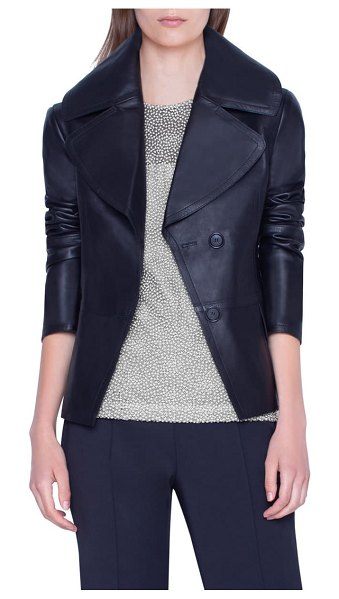 Akris exaggerated lapels leather jacket in black