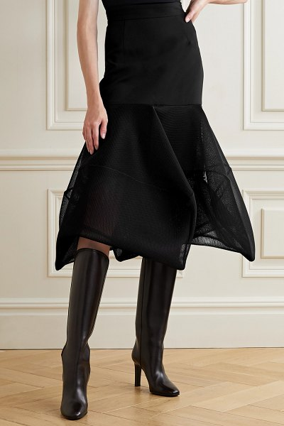 Akris fluted wool-blend crepe and mesh midi skirt in black