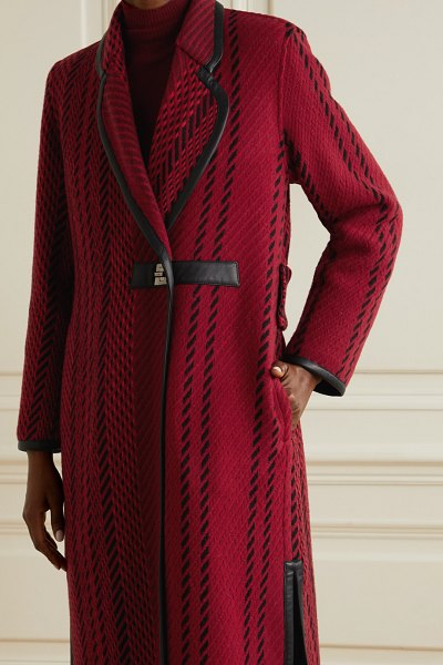 Akris leather-trimmed wool-blend tweed coat in red