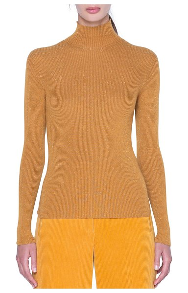 Akris Metallic Cashmere-Silk Ribbed Turtleneck Sweater in gold