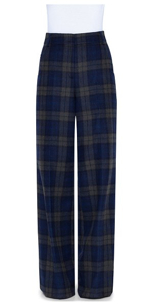 Akris Plaid Wool Wide-Leg Pants in navy