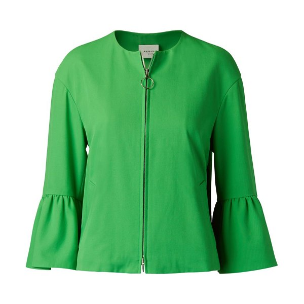 Akris punto bell-sleeve cropped jacket in green