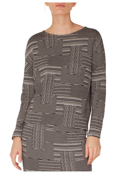 "Akris punto Crewneck Long-Sleeve Patchwork Knit Jacquard Top in black/white - Akris punto patchwork jacquard knit top. Approx. 25.5""L..."