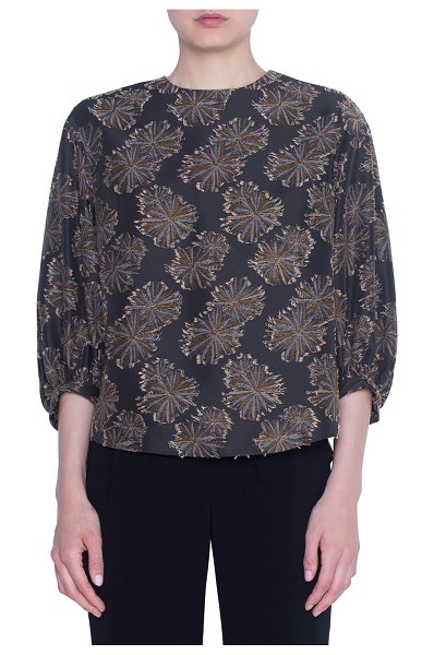Akris punto Dessert Flower Jacquard 3/4-Sleeve Blouse in multi