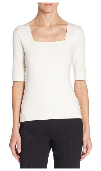 Akris punto elements jersey square neck top in black,off white