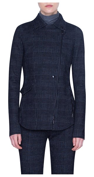 Akris punto Glen Check Velvet Jacket in gray