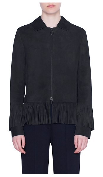 Akris punto Goat Suede Fringe-Hem Jacket in black