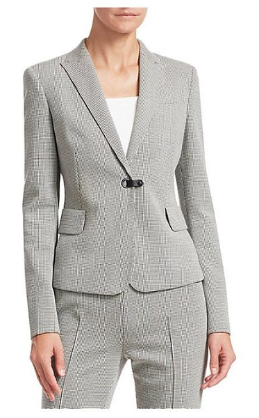 Akris punto houndstooth blazer in black cream - ONLY AT SAKS. Patterned with a micro-houndstooth, this...