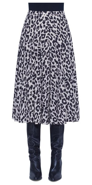 Akris punto leopard print pleated wool skirt in offwhite/ black