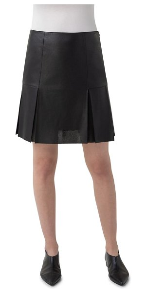 Akris punto perforated leather front skirt in black