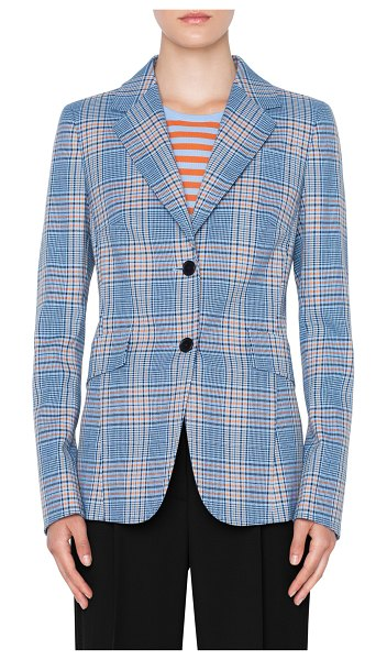 Akris punto plaid blazer in blue - A fresh color combination and storm flap-style seaming...