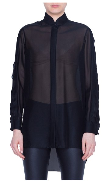 Akris punto Semisheer Button-Front Shirt in black