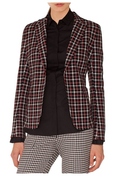 AKRIS PUNTO Single-Breasted Notched-Lapel Check Blazer in black pattern - Akris punto single-breasted check woven blazer. Notched...