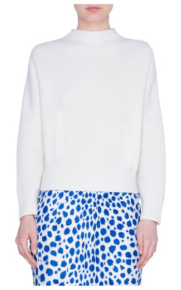 Akris punto Wool-Cashmere High-Neck Sweater in neutral pattern