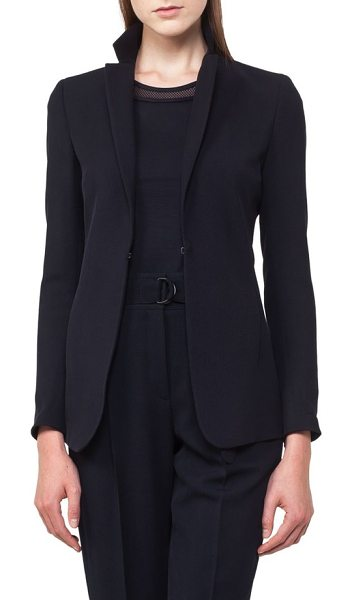 Akris punto wool gabardine blazer in navy