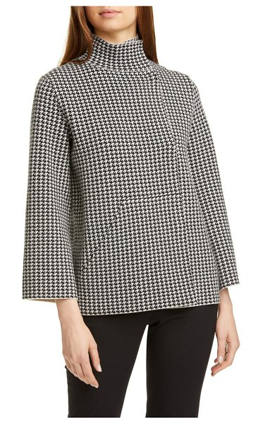 Akris reversible houndstooth jacquard cashmere blend cardigan in 911-black-birch