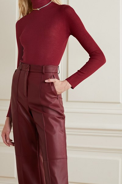 Akris ribbed cashmere and silk-blend turtleneck sweater in burgundy