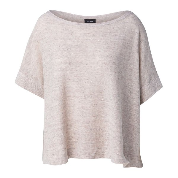 Akris sequin embellished linen-blend boatneck t-shirt in greige