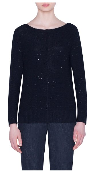 Akris Sequined Cashmere-Blend Crewneck Sweater in black
