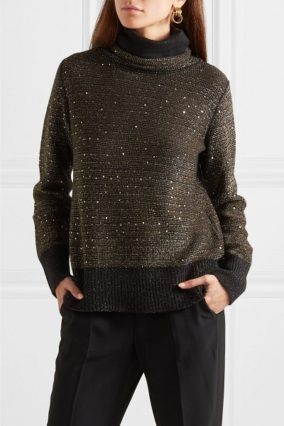 Akris sequined metallic cashmere-blend turtleneck sweater in black