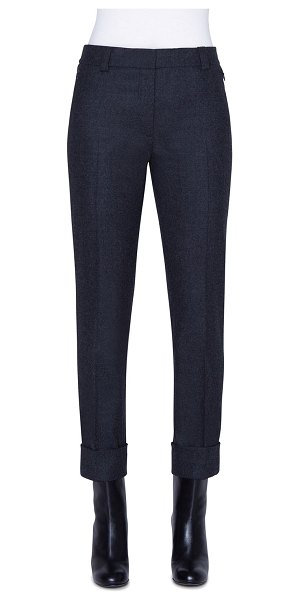 Akris Stretch Wool Flannel Ankle Pants in charcoal