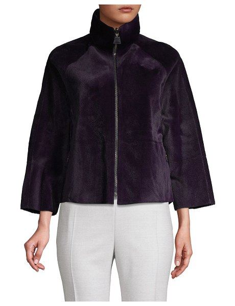Akris Svea Reversible Leather & Kangaroo Fur Jacket in iris