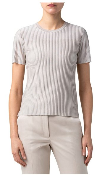 Akris transparent stripe short sleeve silk sweater in greige