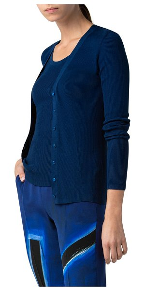 Akris Twisted Sea Island Cotton Button-Front Cardigan in blue angel