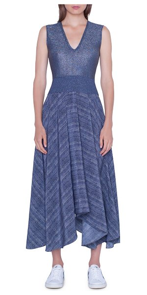 Akris V-Neck Shimmer Handkerchief Dress in navy