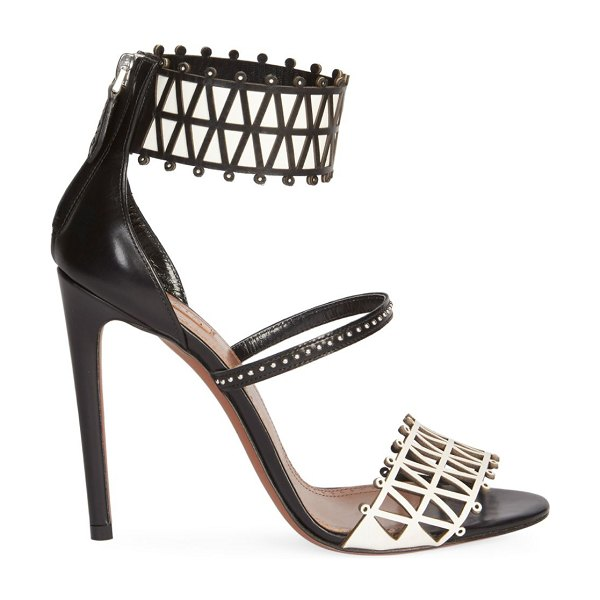 ALAIA Ankle-Cuff Laser Cut Leather Sandals in black gold