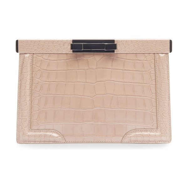 ALAIA Cecile Crocodile-Embossed Leather Clutch Bag in navy