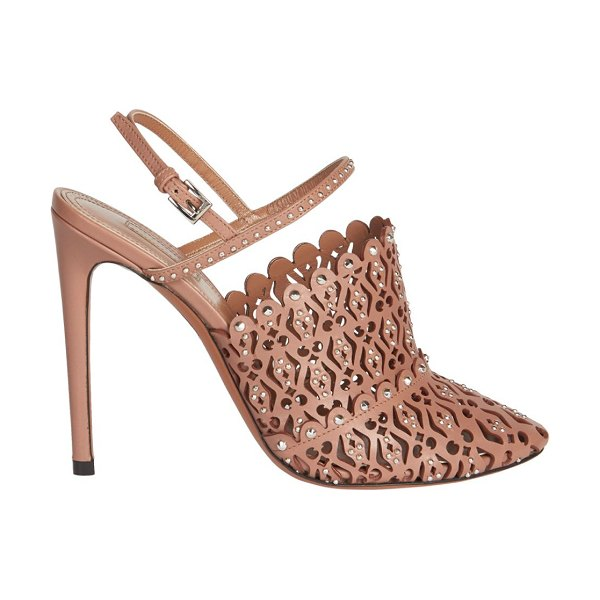 ALAIA Laser Cut Leather Slingback Pumps in tan