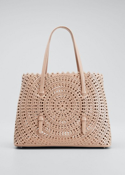 ALAIA Mina Large Lux Vienne Tote Bag in light pink