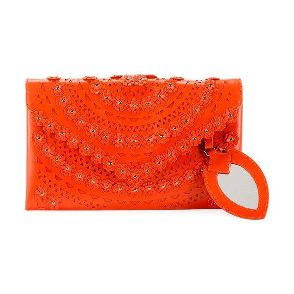 ALAIA Oum Laser-Cut Leather Clutch Bag with Flowers in orange