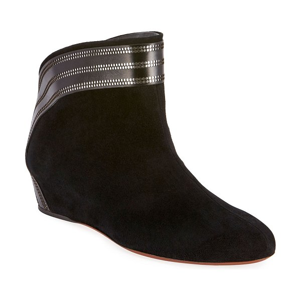 ALAIA Perforated Suede Wedge Pull-On Booties in black/silver