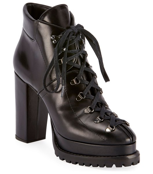 ALAIA Platform Lug-Sole Booties in black