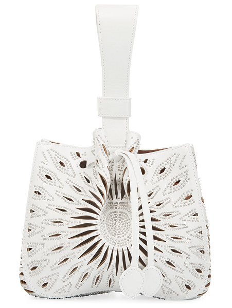 ALAIA Rose Marie Small Bucket Bag in white - ALAIA laser-cutout leather bucket bag with allover...
