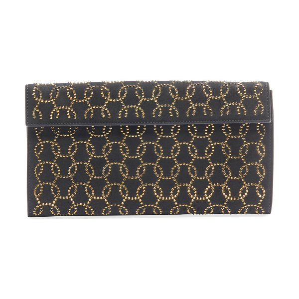 ALAIA Vague2 Studded Suede Clutch Bag in black/gold