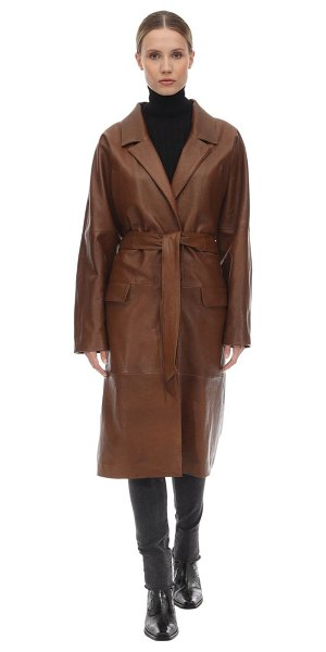 ALBERTA FERRETTI Belted leather coat in brown
