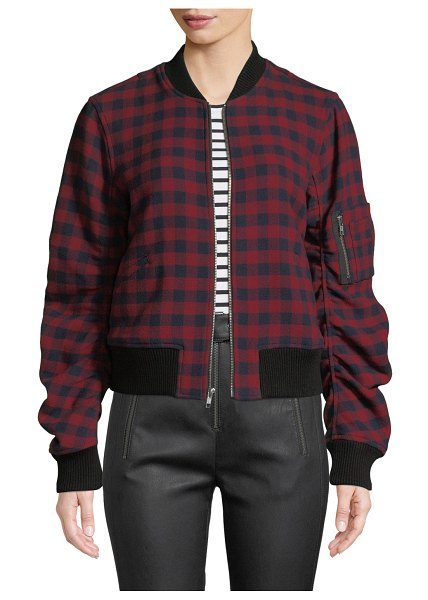 "A.L.C. Andrew Plaid Wool Bomber Jacket in multi pattern - A.L.C. ""Andrew"" plaid bomber jacket. Rib-knit contrast..."