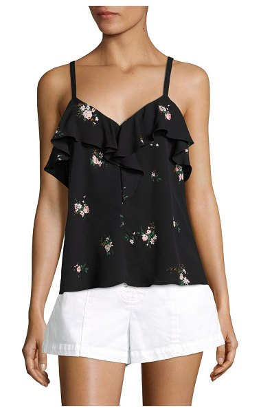 A.L.C. ari ruffle silk top in black pink - Glamorous silk ruffle top with floral print updates....