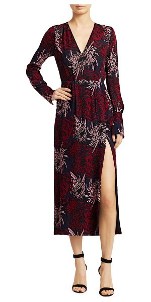 A.L.C. Bailey Floral Silk Midi Dress in midnight pink red