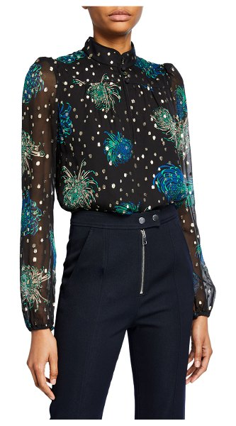 A.L.C. Beatrix Floral & Metallic Dot High-Neck Long-Sleeve Top in multi pattern