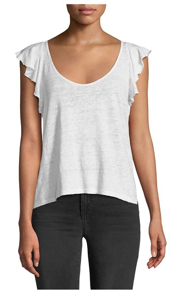 "A.L.C. Delta Flutter-Sleeve Linen Tee in white - A.L.C. ""Delta"" tee in linen. Scoop neckline. Short..."