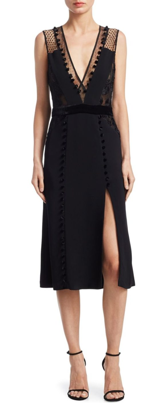 A L C Harlow Slit Midi Dress In Black Shopstasy