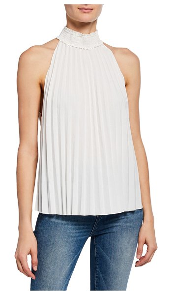 A.L.C. Imani High-Neck Pleated Top in white