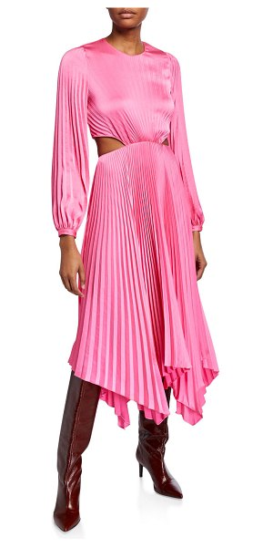 A.L.C. Naples Pleated Cutout Handkerchief Dress in pink