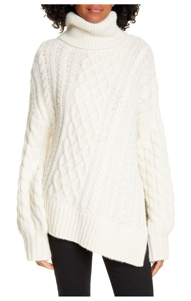 A.L.C. nevelson turtleneck asymmetrical cable knit sweater in white